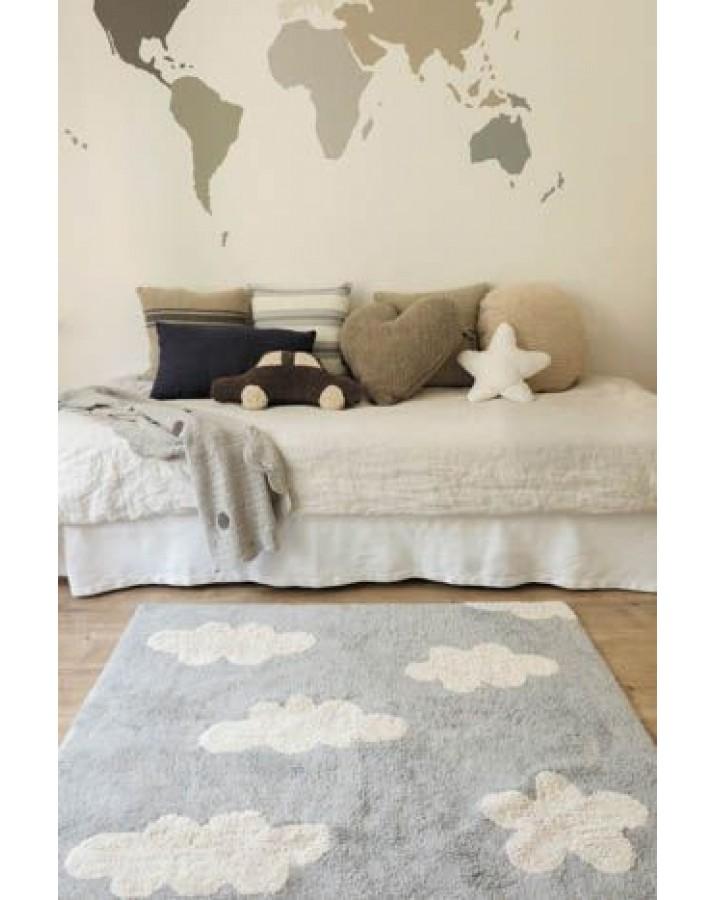 Pilkas skalbiamas kilimas Debesėlis