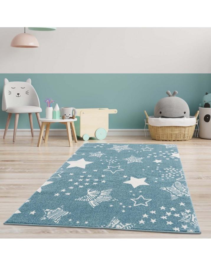 Melsvas kilimas su žvaigždelėmis