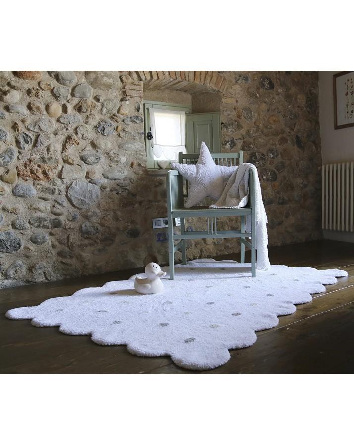 Baltas skalbiamas kilimas Sausainiukas