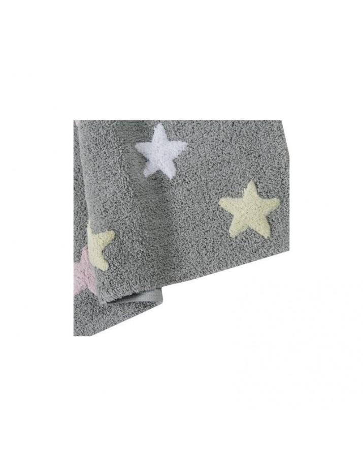 Pilkas skalbiamas kilimas su spalvotomis žvaigždelėmis