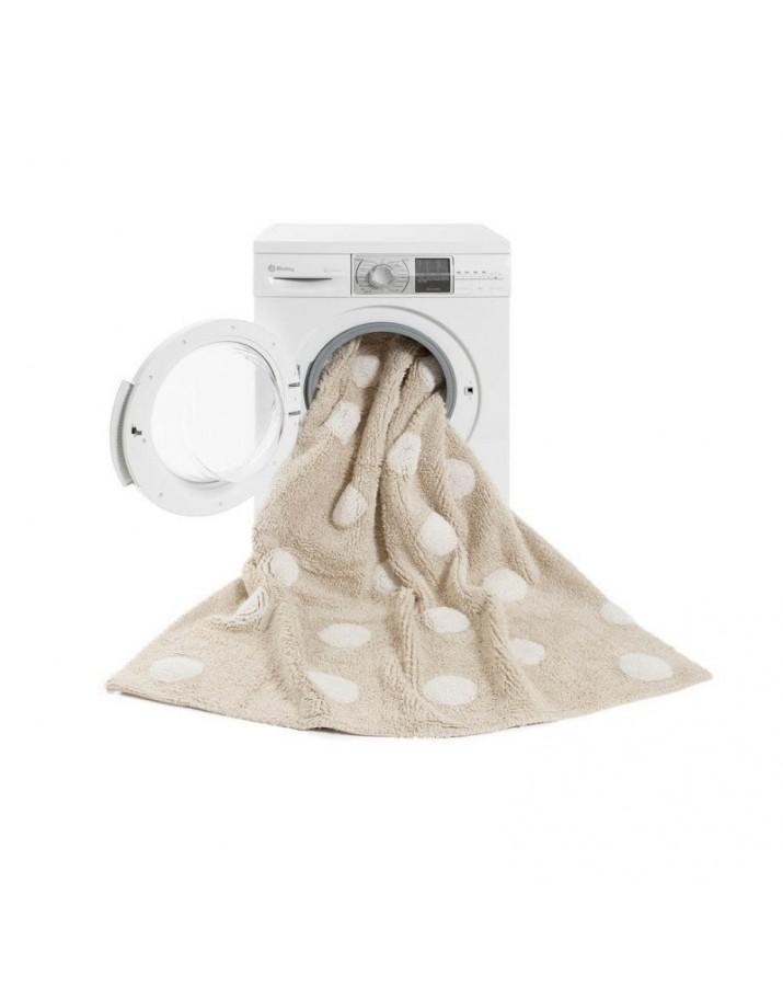 Kreminis skalbiamas kilimas su baltais taškučiais