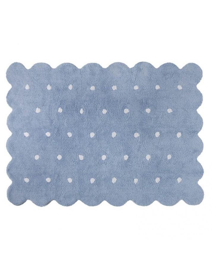Melsvas kilimas su baltais taškučiais