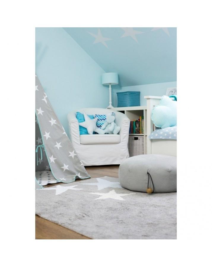 Pilkas skalbiamas kilimas su didelėmis žvaigždelėmis