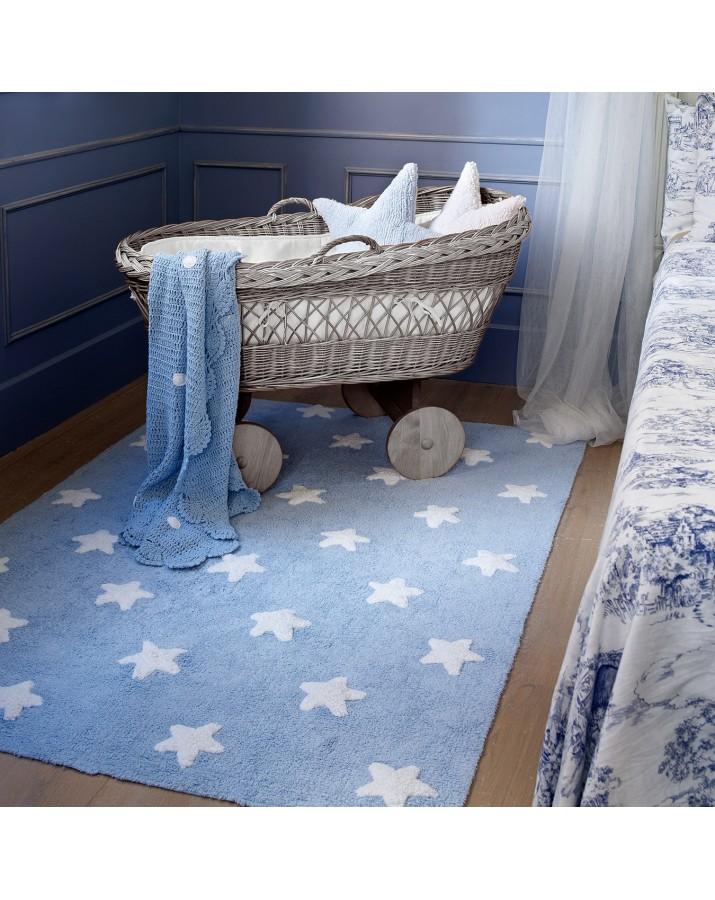 Melsvas skalbiamas kilimas su baltomis žvaigždelėmis