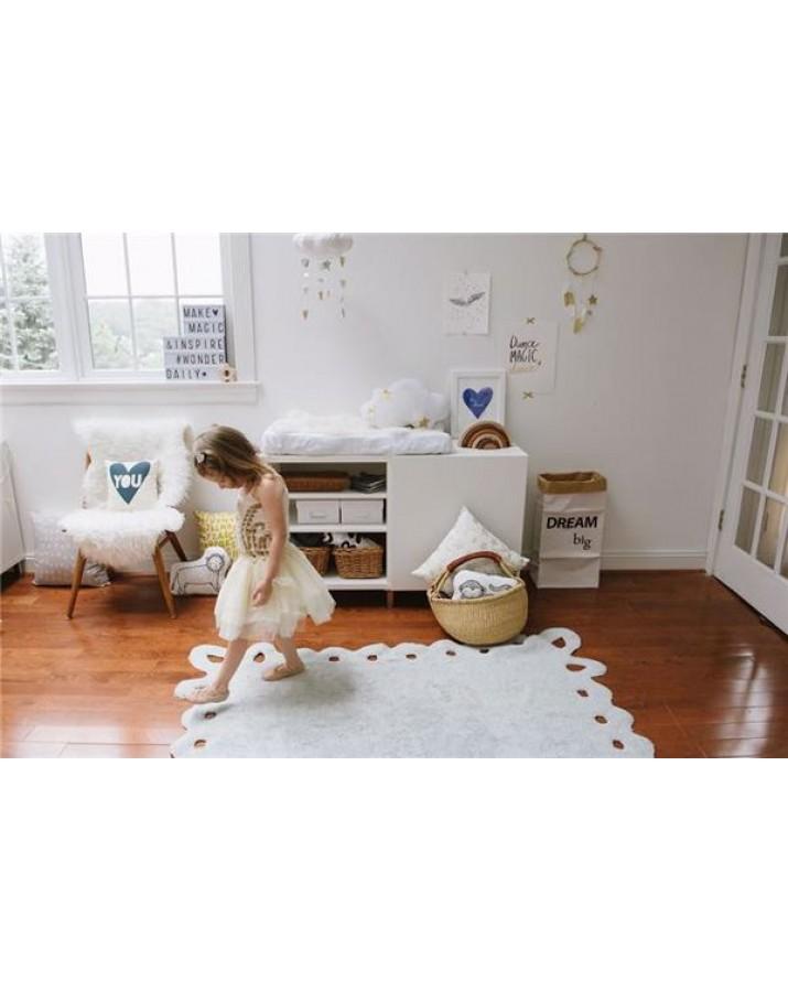 Pilkos spalvos skalbiamas kilimas Lace
