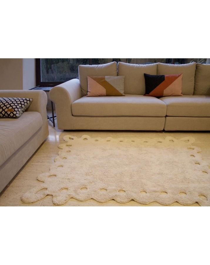 Smėlio spalvos skalbiamas kilimas Lace