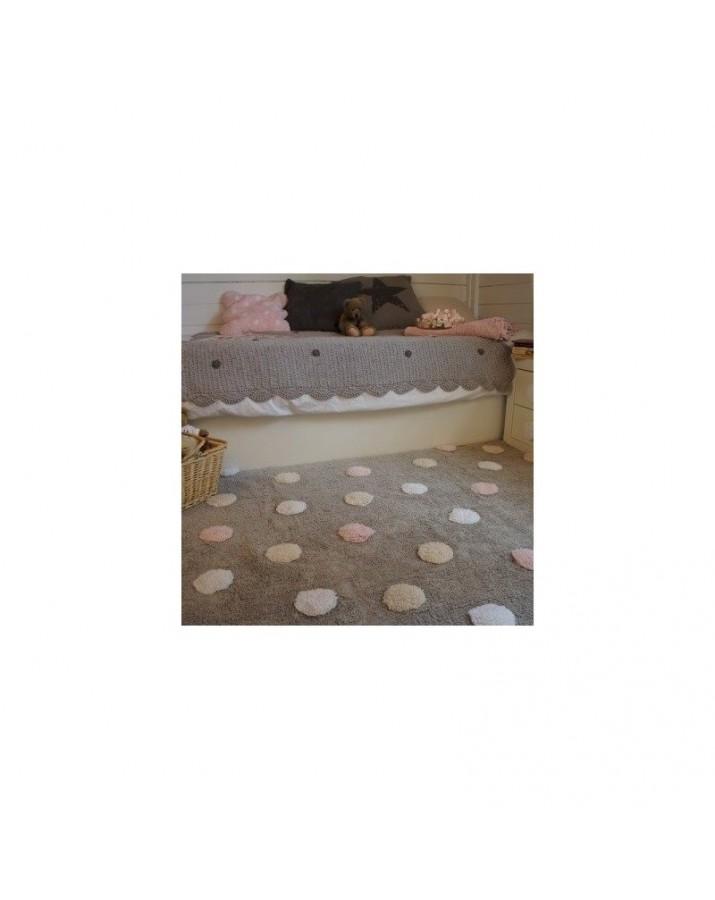 Pilkas skalbiamas kilimas su spalvotais taškiukais