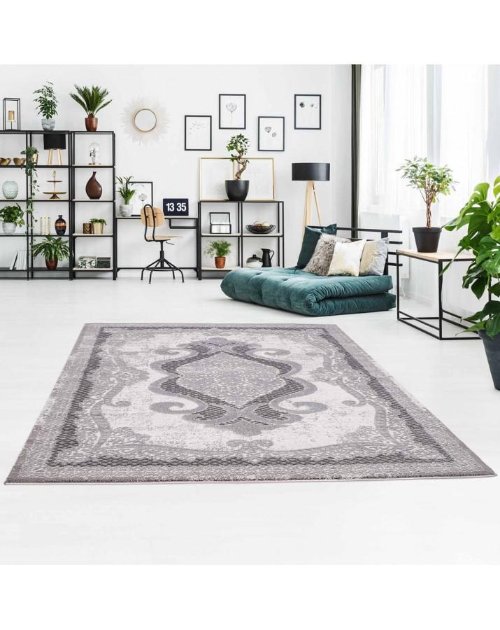 Klasikinio stiliaus pilkos spalvos kilimas