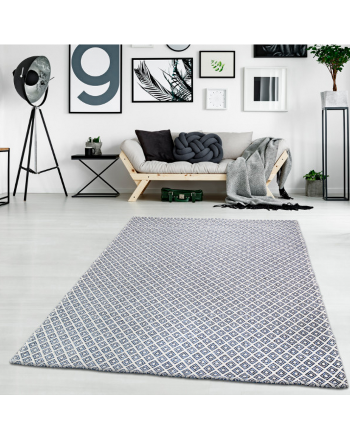 Medvilninis mėlynas kilimas su rombais