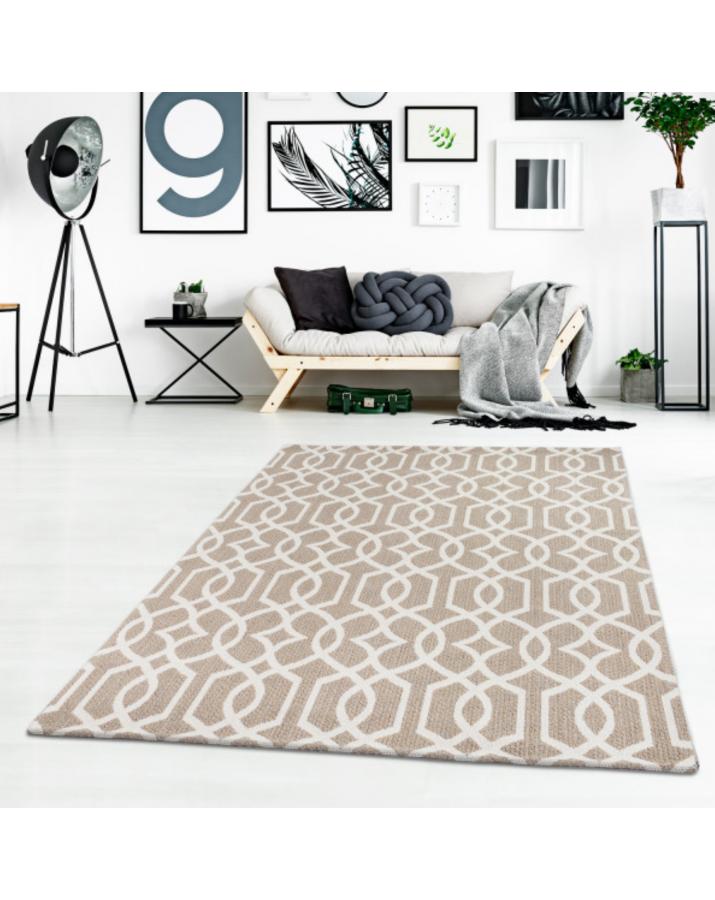 Medvilninis rusvas kilimas su raštais