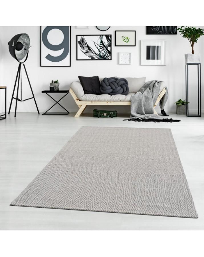 Medvilninis pilkas kilimas su zigzagais