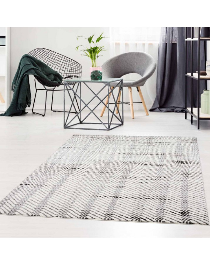 Modernus zigzagų raštų kilimas