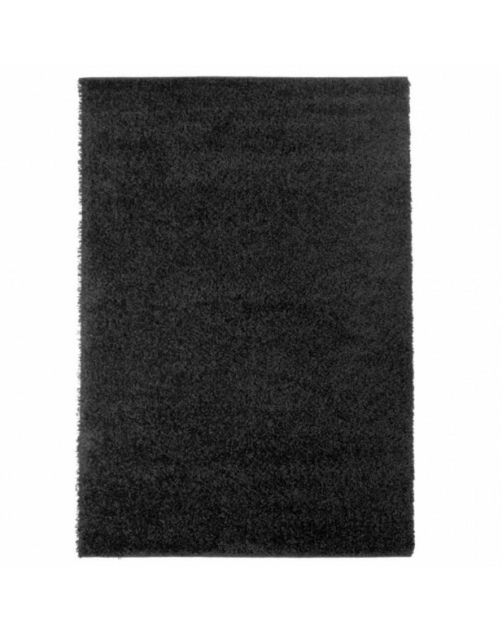 Švelnus juodas kilimas Shaggy Uni